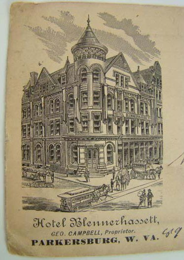 """Hotel Blennerhassett"", Parkersburg, West Virginia, envelope 1891"