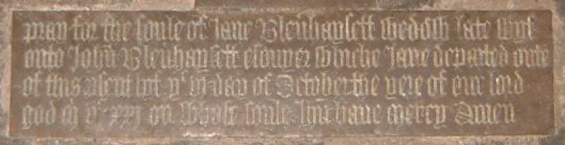 Jane Blennerhassett, nee Tyndall, d.1521; Frenze, Norfolk