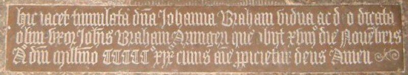 Johanna Barham, nee Blennerhassett d.1519; Frenze, Norfolk